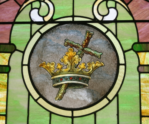 Cross and Crown Stained Glass